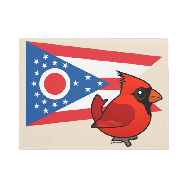 Our cute cartoon Northern Cardinal stands before the official state flag of Ohio. The cardinal has been the official state bird of OH since 1953.  sc 1 st  Birdorable & State Birdorable of Ohio: Northern Cardinal Door Mat (18