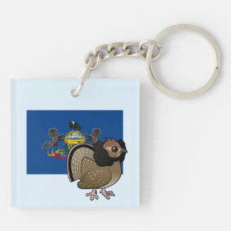 State Birdorable of Pennsylvania: Ruffed Grouse Double-Sided Square Acrylic Keychain