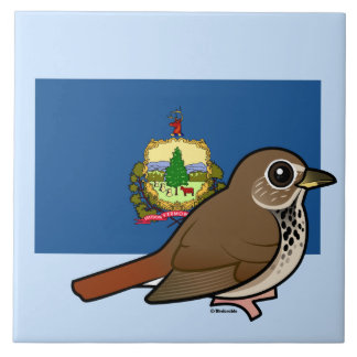 State Birdorable of Vermont: Hermit Thrush Tile