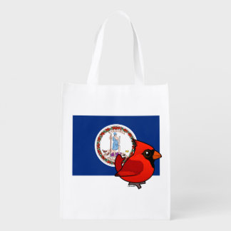 State Birdorable of Virginia: Northern Cardinal Reusable Grocery Bags