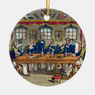 State Cabin, Newcome's Exit after Dinner, plate fr Double-Sided Ceramic Round Christmas Ornament