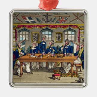 State Cabin, Newcome's Exit after Dinner, plate fr Square Metal Christmas Ornament
