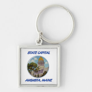 State Capital Augusta Maine Silver-Colored Square Keychain