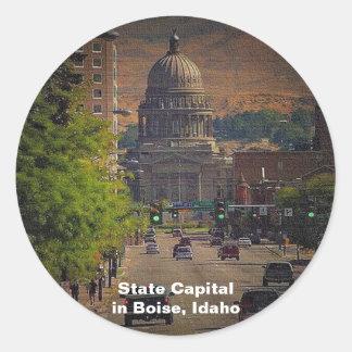 State Capital in Boise, Idaho Round Sticker