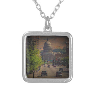 State Capital  in Boise, Idaho Silver Plated Necklace