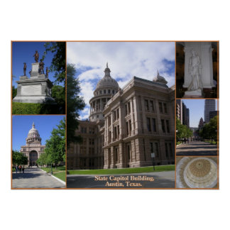 State Capitol building Collage-Austin, Texas Poster
