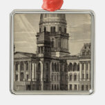 State Capitol building, Springfield, Ill Square Metal Christmas Ornament