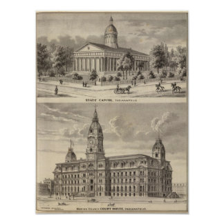 State Capitol , Marion County Court House Poster