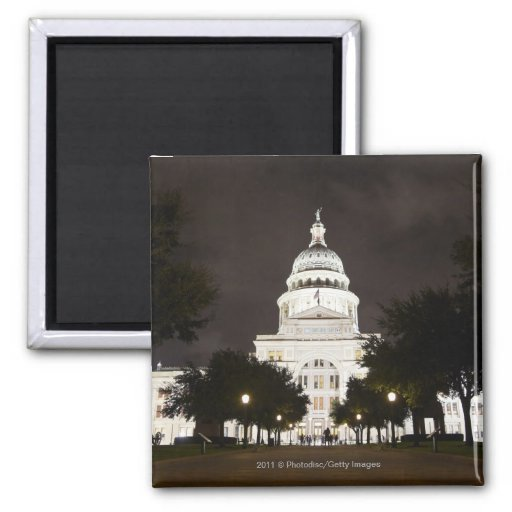 State Capitol of Austin, Texas at Night 2 Inch Square Magnet