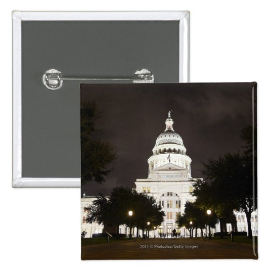 State Capitol of Austin, Texas at Night Pinback Button
