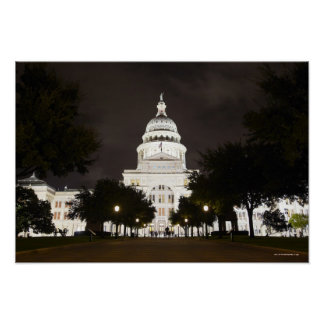 State Capitol of Austin, Texas at Night Poster