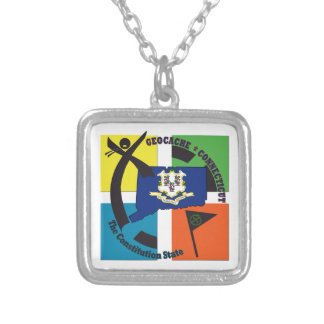 STATE CONNECTICUT NICKNAME GEOCACHER SILVER PLATED NECKLACE
