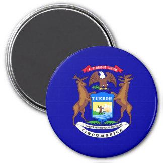 state-flag-Michigan 3 Inch Round Magnet