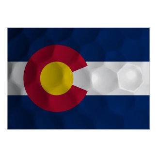 State Flag of Colorado Golf Ball Dimples Poster