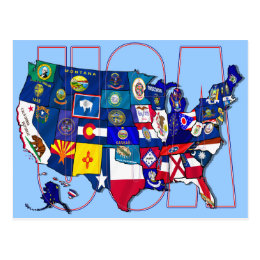 State Flags Map USA United States Flag Postcard