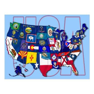 Funkart State Flags Map USA United States Flag Postcard