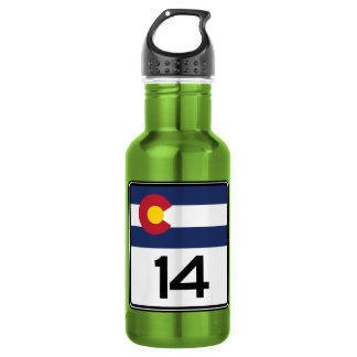 State Highway 14, Colorado, USA 18oz Water Bottle
