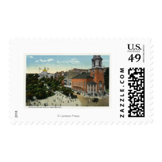 State House and Park Street View from the Mall Postage Stamp