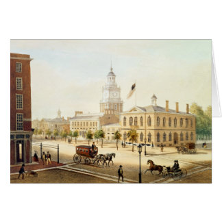 State House, Philadelphia, engraved by Deroy Card