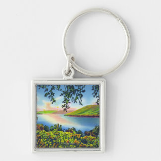 State Hwy View of Bluff Point Silver-Colored Square Keychain