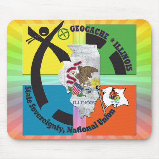 STATE ILLINOIS STATE MOTTO GEOCACHER MOUSE PAD