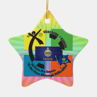 STATE KANSAS MOTTO  GEOCACHING CERAMIC ORNAMENT