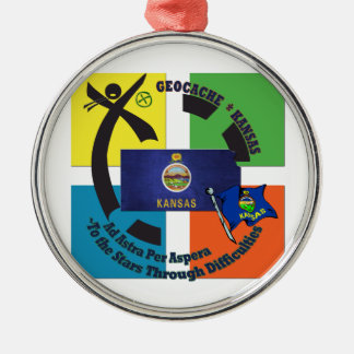 STATE KANSAS MOTTO  GEOCACHING METAL ORNAMENT