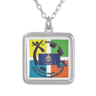STATE KANSAS MOTTO  GEOCACHING SILVER PLATED NECKLACE