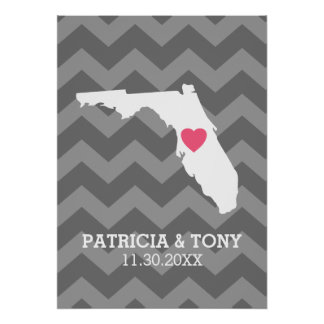 State Map Love with Heart for Wedding - Florida Poster
