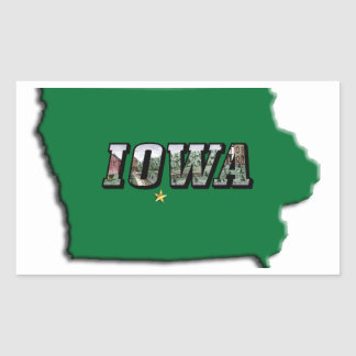 State Map of Iowa and Picture Text Rectangular Sticker