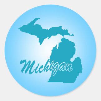 State Michigan Round Stickers