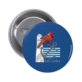 state north Carolina bird, light house 2 Inch Round Button