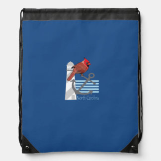 state north Carolina bird, light house Drawstring Backpack
