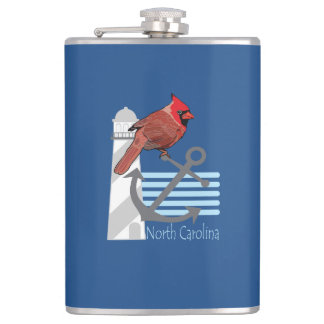 state north Carolina bird, light house Flask