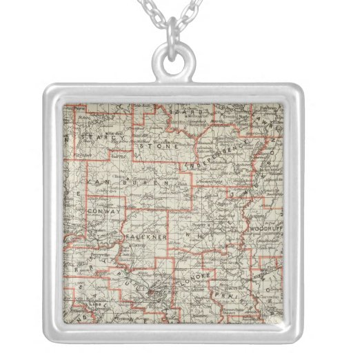 State of Arkansas Square Pendant Necklace
