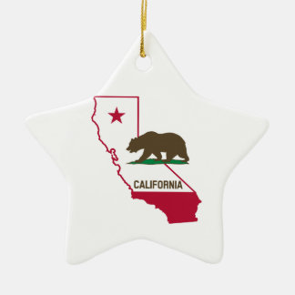 State of California and Grizzly Bear Ceramic Ornament