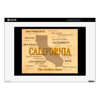 "State of California Map, Los Angeles, Sacramento 15"" Laptop Decal"