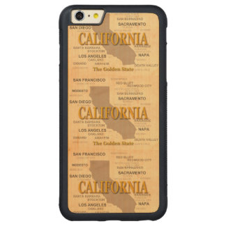 State of California Map, Los Angeles, Sacramento Carved® Maple iPhone 6 Plus Bumper