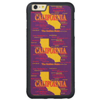 State of California Map, Los Angeles, San Diego Carved Maple iPhone 6 Plus Bumper Case