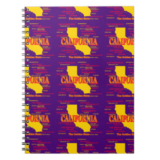 State of California Map, Los Angeles, San Diego Notebook