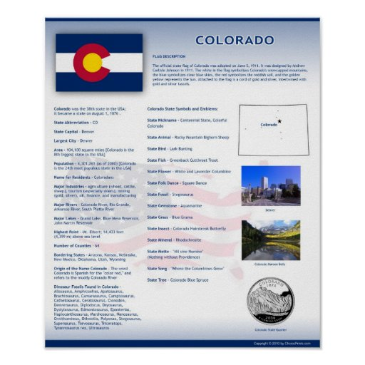 State of Colorado, CO Posters