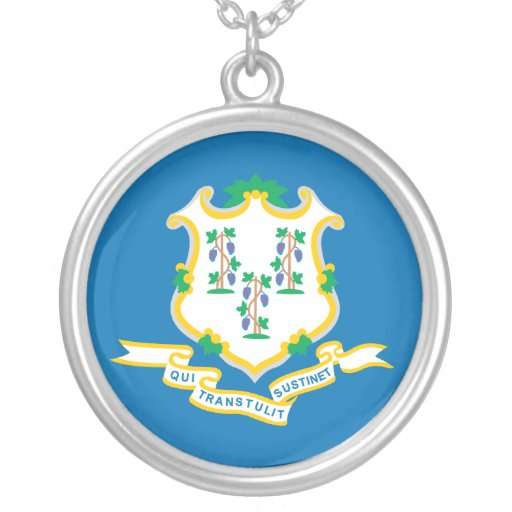 State of Connecticut flag Round Pendant Necklace