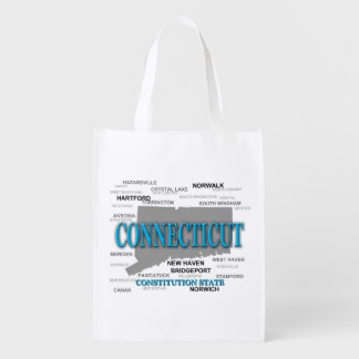 State of Connecticut Map, Hartford, New Haven Reusable Grocery Bag