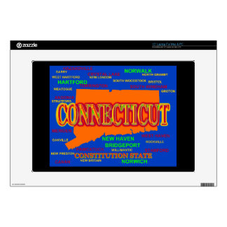 State of Connecticut Map, New Haven, Hartford Decals For Laptops