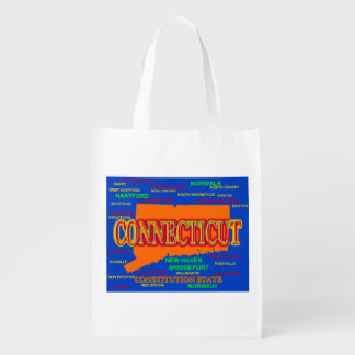 State of Connecticut Map, New Haven, Hartford Grocery Bag