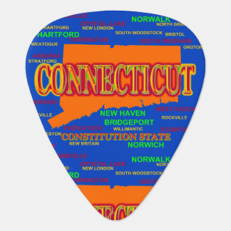 State of Connecticut Map, New Haven, Hartford Guitar Pick