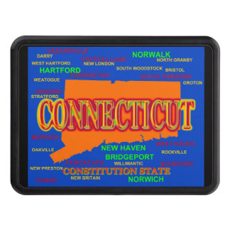State of Connecticut Map, New Haven, Hartford Hitch Cover