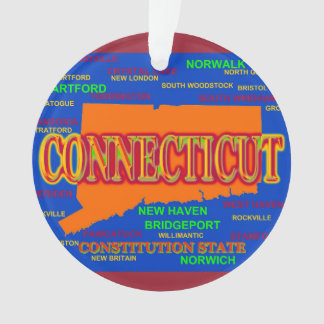 State of Connecticut Map, New Haven, Hartford Ornament