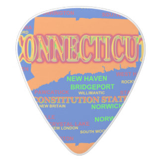State of Connecticut Map, New Haven, Hartford White Delrin Guitar Pick
