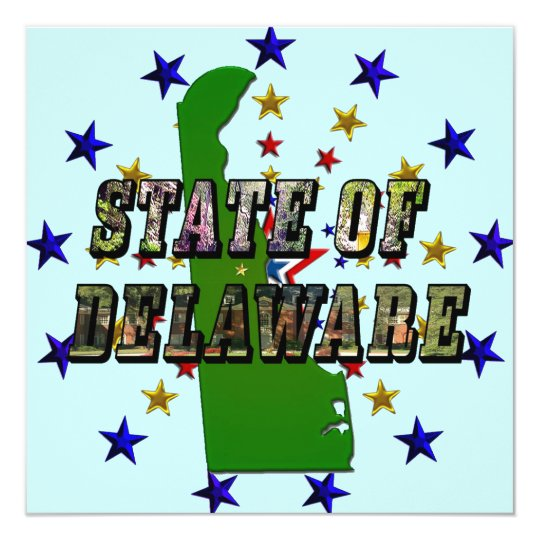 State of Delaware Picture Text and Map Card